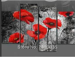 hand painted 5 piece abstract famous red poppy painting oil flower wall art modern canvas decor