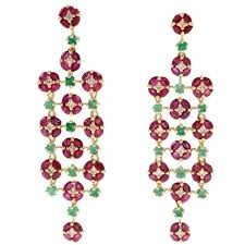 luise ruby emerald diamond chandelier earrings for