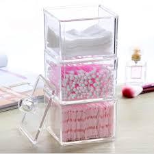 Transparent Acrylic Makeup Organizer Cotton Swab Q-tip Storage Box Cotton  Pad Case Jewelry Storage