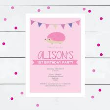 Girl Birthday Invitation Template Printable Birthday Invitation Template Pink Hedgehog Diy Download Girl Birthday Invite Woodland Animal Invite Forest Animal Invite