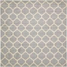 unique loom trellis light gray 10 x 10 square rug