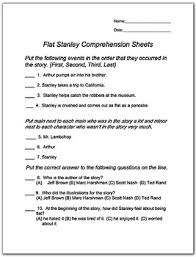 Flat Stanley Printable Flat Stanley Comprehension Worksheets