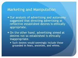 philosophy marketing and vulnerability marketing and  marketing and manipulation our analysis of advertising and autonomy suggested that directing advertising at reflective established