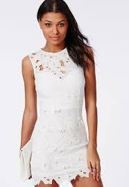 Crochet Bodycon Dress White Missguided