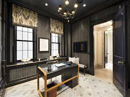 home office black desk. Wallpapered Wainscoting Home Office Black Desk