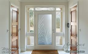 glass entry doors etched glass tropical decor wi reeds foliage