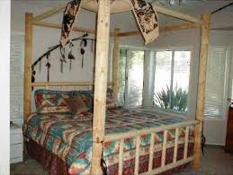 Southwest Western Lodgepole Pine Canopy Bed. Hand Peeled with a Draw ...