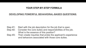 Behaviour Based Questions Behaviour Based Questions Steps To Developing Powerful Behavioral