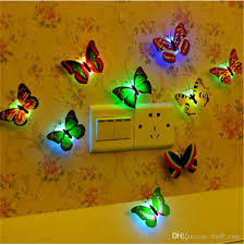 decors 3d led erfly dragonfly wall sticker ornaments led erfly night light lamp wall light 3d wall decorations sticker wall