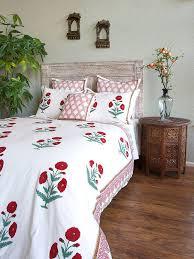 mughal poppy red green fl vintage white duvet cover