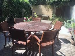 homebase almeria 6 seater round wooden garden furniture set
