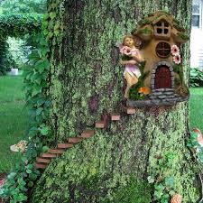 magical garden solar powered woodland treehouse brown door