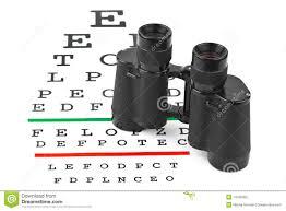 Binoculars On Eyesight Test Chart Stock Photo Image Of