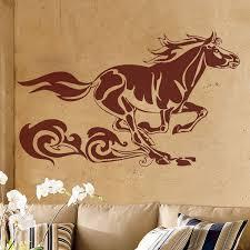 running horse with tribal swirls wall