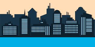 Blue <b>silhouette</b> of city evening <b>creative</b> style - Download Free ...