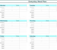 Weight Loss Menu Planner Template Meal Plan Template Word Monthly Document Daily Free Menu Planner