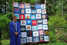 Memory Quilts by Molly & A beautiful Memory Quilt filled with swim shirts for a lucky graduate! Adamdwight.com