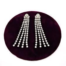 vintage rhinestone chandelier earrings over 3 inch long drop waterfall pierced earrings four diamante fringe strands swing below big jewel