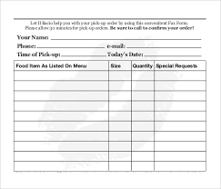 Food Order S Free Sample Example Format Downl On Cake Order Form ...