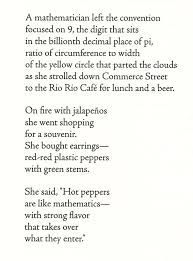 joanne growney s san antonio january 1993 expresses a love of mathematics too not by using a house as a metaphor though but hot peppers which
