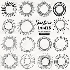 Circle Border Sunshine Circle Frame And Labels Black Line Art Round Circle Borders