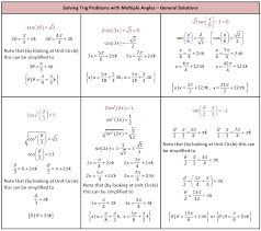 solving trig problems with multiple angles general solutions