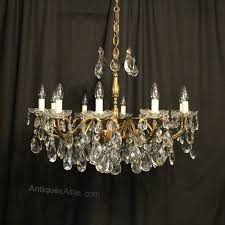 italian gilt crystal 10 light antique chandelier