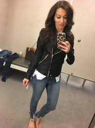 nordstrom anniversary dressing room session and black faux leather jacket