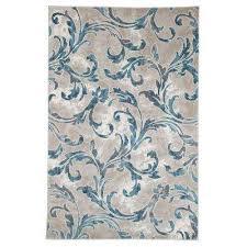 vintage leaves ivory blue 4 ft x 6 ft area rug