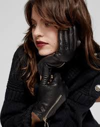 women s accessories zip front leather gloves in black wool from me em