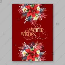 Poinsettia Card Merry Christmas Party Invitation Poinsettia On Brightly Red Background Thank You Card Thank You Card