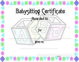 babysitting certificates certificate template for kids free printable certificate