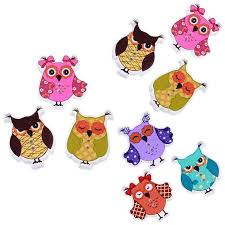 <b>50PCs Colorful</b> Cartoons <b>Owl Wooden</b> Buttons Sewing Buttons ...