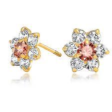 Cz Gold Real Flower Rose Pink Cz Alexandrite Earrings Stud
