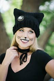 cat makeup tutorial for paired with an adorable hat knitting pattern it s the