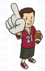 football fan clipart. male sports fan wearing a foam finger and holding football clipart f