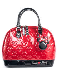 mickey and minnie red and black patent embossed bag jpg