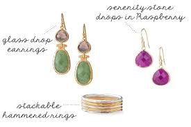 serenity stone drops in raspberry hammered stackable rings amelia drop earrings