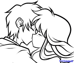 Anime Couple Kissing Drawing 43 Couples Coloring Pages Thanhhoacarcom