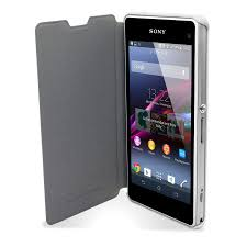 sony xperia z1 white. muvit easy folio leather style case for sony xperia z1 compact - white
