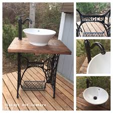vessel sink vanity base. A Must Have For Up-cycling, Vintage, And Rustic Lovers. Up-cycled Vintage Singer Sewing Machine Base Made Into Bathroom Vanity. Vessel Sink Vanity T