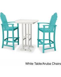 3 piece patio bar set. Fine Set Polywood Kahala 3piece Outdoor Adirondack Chair Bar Set With Table  Weather Resistant To 3 Piece Patio
