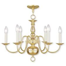 williamsburgh six light polished brass chandelier