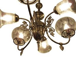 victorian six arm brass electric and gas style chandelier pendant with etched shades for