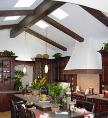 Vaulted ceiling wood beams Faux Wood Vaulted Kitchen Ceiling Design Enhanced With Heavy Sandblasted Beams Faux Wood Beams Vaulted Ceiling Ideas Enhance Your Home Design With Ease