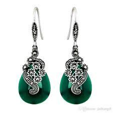 2018 hot s women vintage jewelry thai silver marcasite green onyx drop pendant dangel earrings from jadeangel 47 44 dhgate com