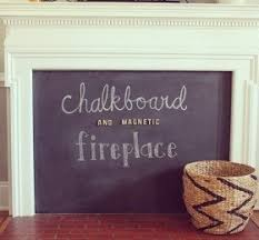 Fun DIY chalkboard (and magnetic!) fireplace cover on the blog today! Great