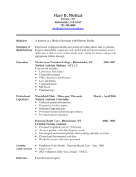 Medical Field Resume Examples Non Certified Assistant Format For