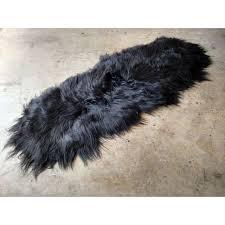 black sheepskin rug. Gambrell Renard Black Sheepskin Rug - Image 2 Of 4