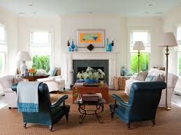 leather wingback chair living room transitional with blue armchair nailhead trim